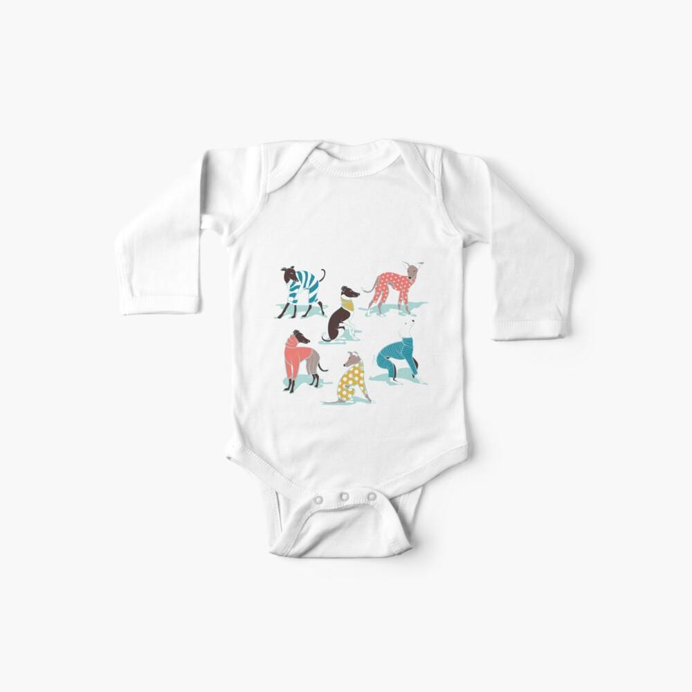 Greyhounds dogwalk // aqua background Baby One-Piece