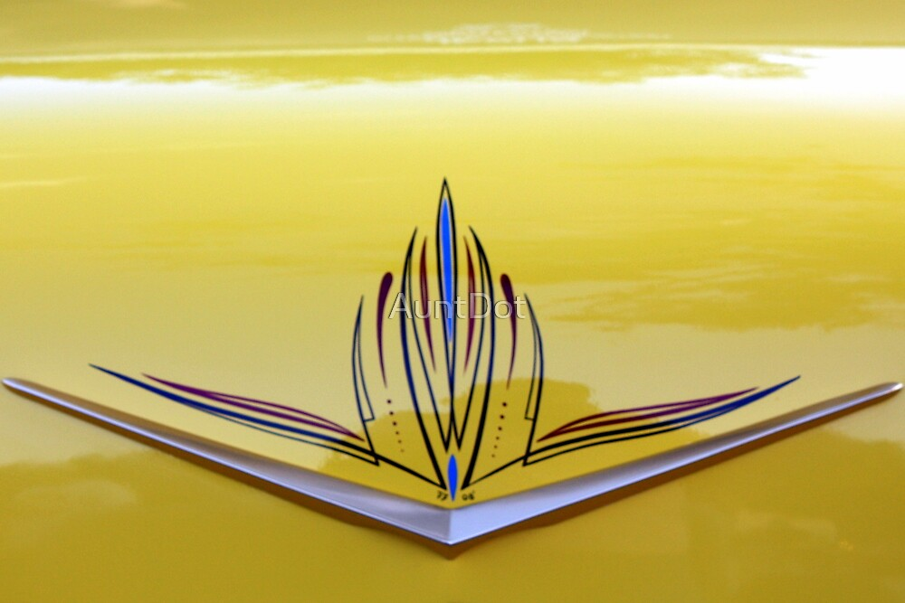Yellow '57 Chevy Trunk Art by AuntDot
