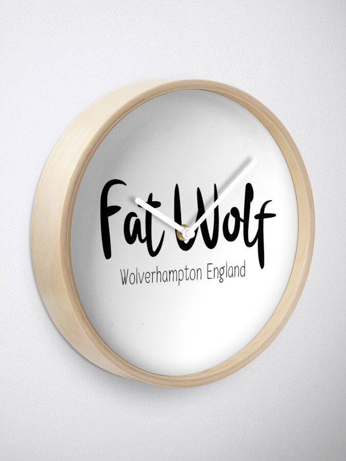 Alternate view of Fat Wolf Logo (Black) Clock