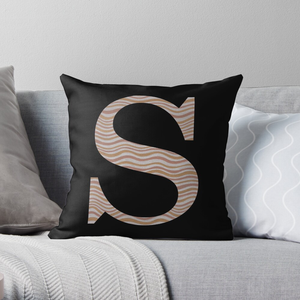 Letter S Metallic Look Stripes Silver Gold Copper Throw Pillow