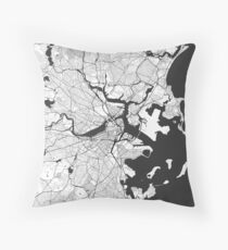Boston Map Gray Throw Pillow