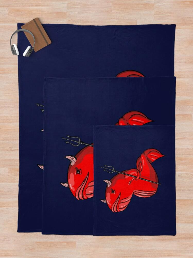 Alternate view of Demon Whale Throw Blanket