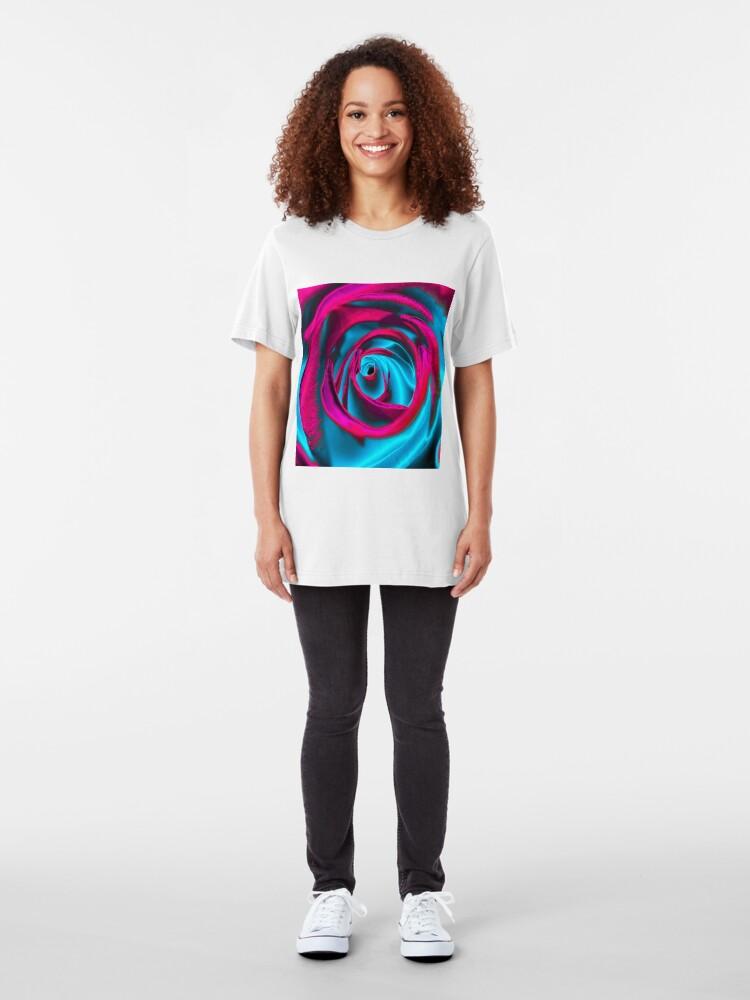 Alternate view of Velvet psychedelia - Rose design Slim Fit T-Shirt