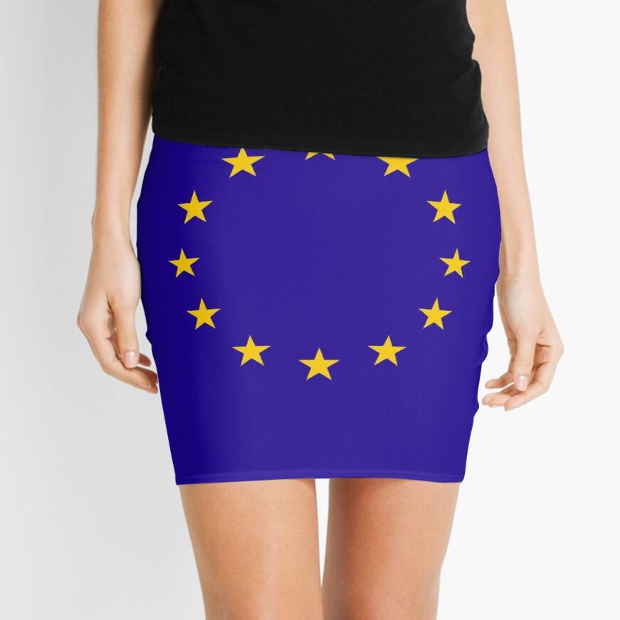 EU, European, Remainers, STARS, Flag, Euro, Flag of Europe, European Union, Flag, Brussels. Mini Skirt