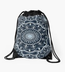 Black White Blue Mandala Drawstring Bag