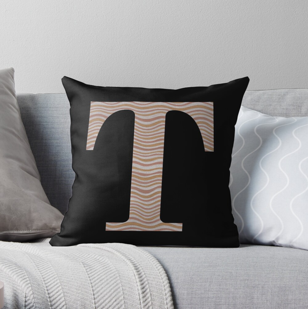 Letter T Metallic Look Stripes Silver Gold Copper Throw Pillow