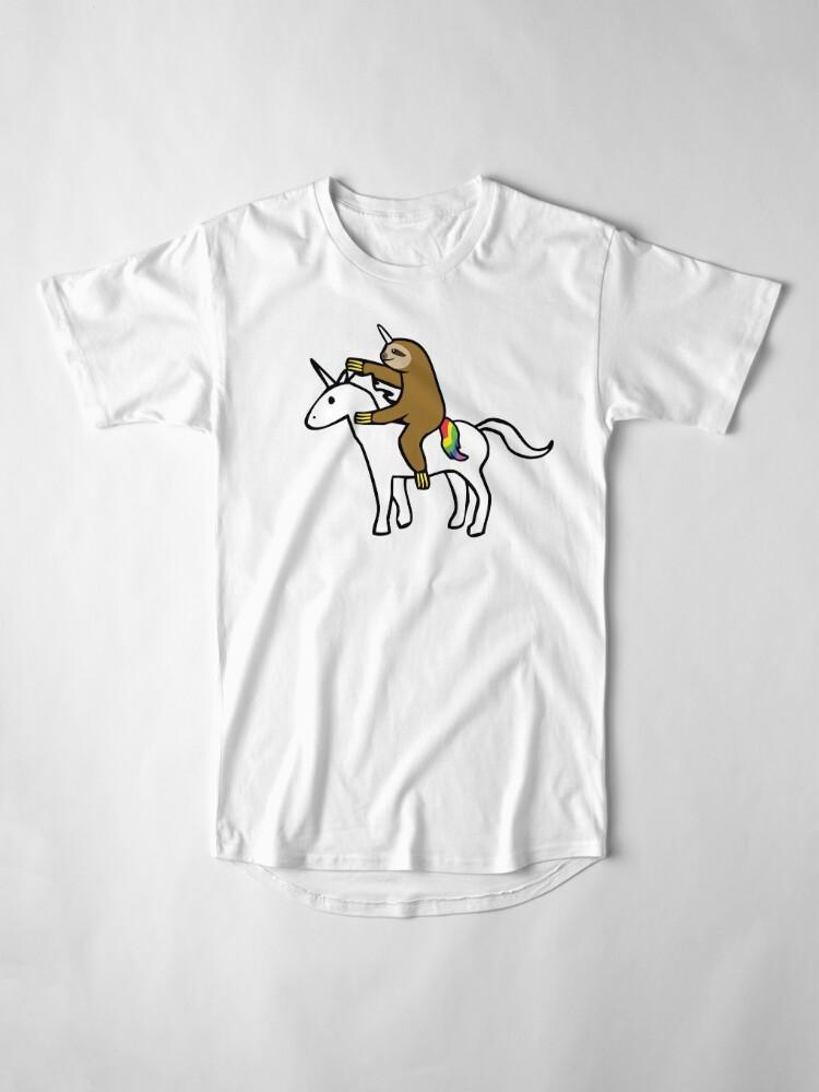 Alternate view of Slothicorn Riding Unicorn Long T-Shirt