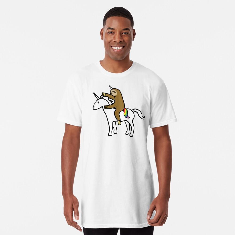 Slothicorn Riding Unicorn Long T-Shirt