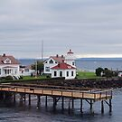 Mukilteo lighthouse from the outgoing ferry by Marjorie Wallace