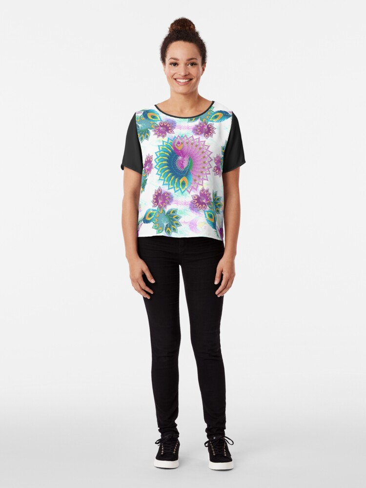 Alternate view of Purple and Turquoise Abstract Peacock Feathers Chiffon Top