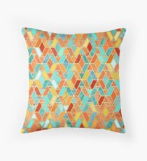 Tangerine & Turquoise Geometric Tile Pattern Throw Pillow