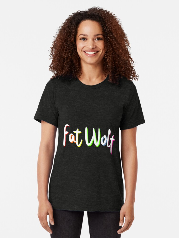 Alternate view of Fat Wolf Rainbow Tri-blend T-Shirt