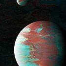 Distant Voyager: planet art; fluid acrylic pour art, digital art; outer space decor by kerravonsen