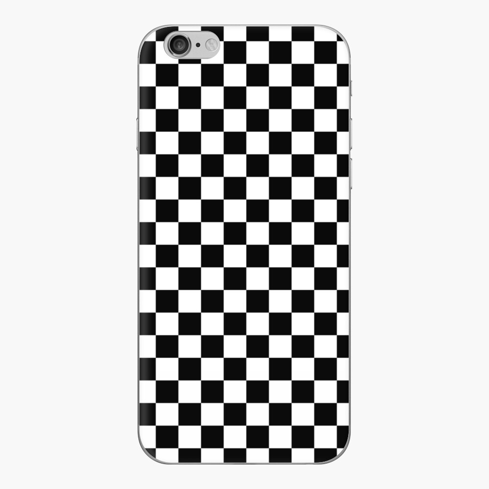 Check pattern. Checkered pattern. Black and white check pattern. Checkerboard. Chessboard. iPhone Skin