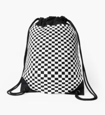 Check pattern. Checkered pattern. Black and white check pattern. Checkerboard. Chessboard. Drawstring Bag
