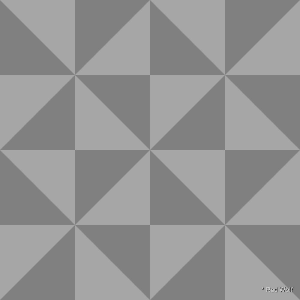 Geometric Pattern: Square Triangle: Monochrome Grey Storm by * Red Wolf