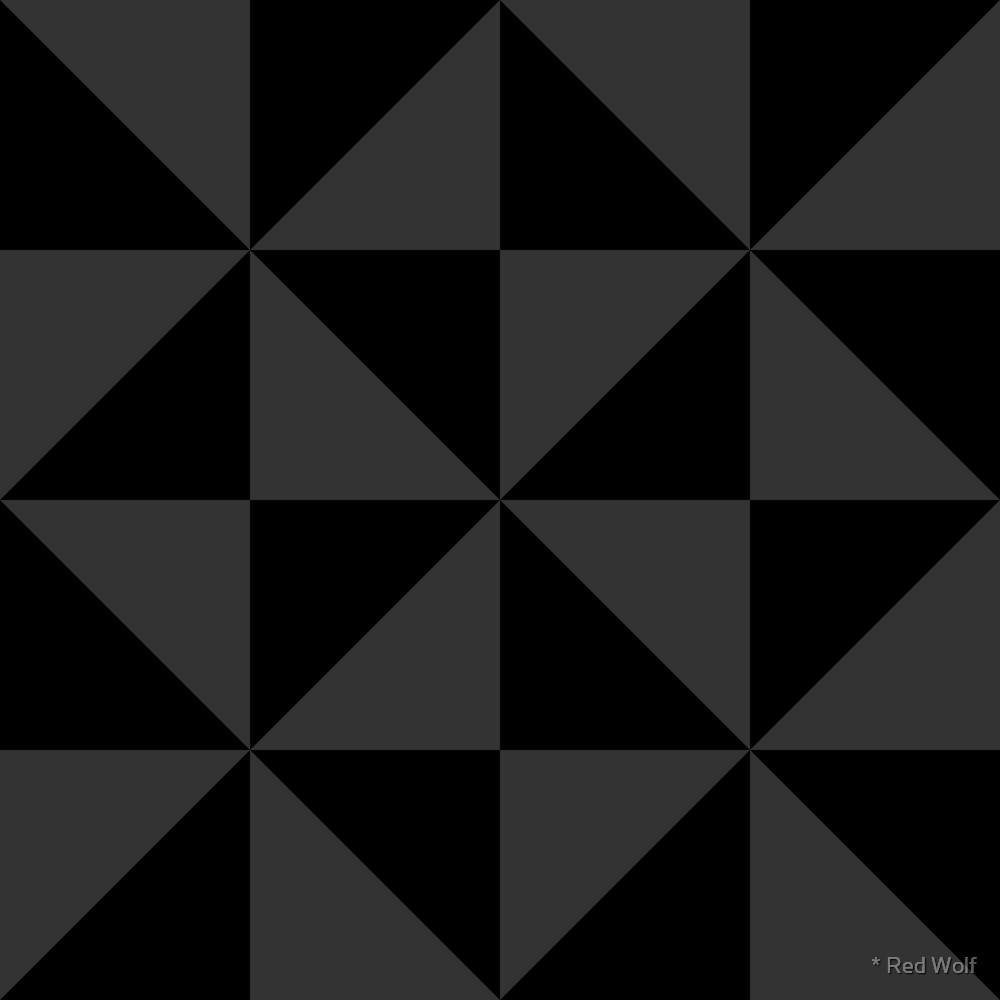 Geometric Pattern: Square Triangle: Monochrome Black by * Red Wolf