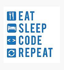 Eat Sleep Code Repeat BLUE Photographic Print