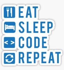Eat Sleep Code Repeat BLUE Sticker