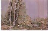 water mixable oil color landscape on cart-edge paper by kallaln