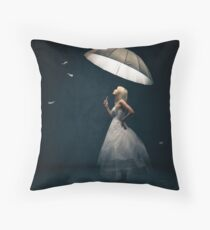 Girl with Umbrella and feathers Throw Pillow