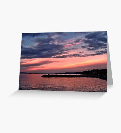 Pink Sunset over Puget Sound Greeting Card
