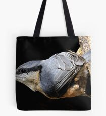 nuthatch caught red handed or in this case black beaked Tote Bag