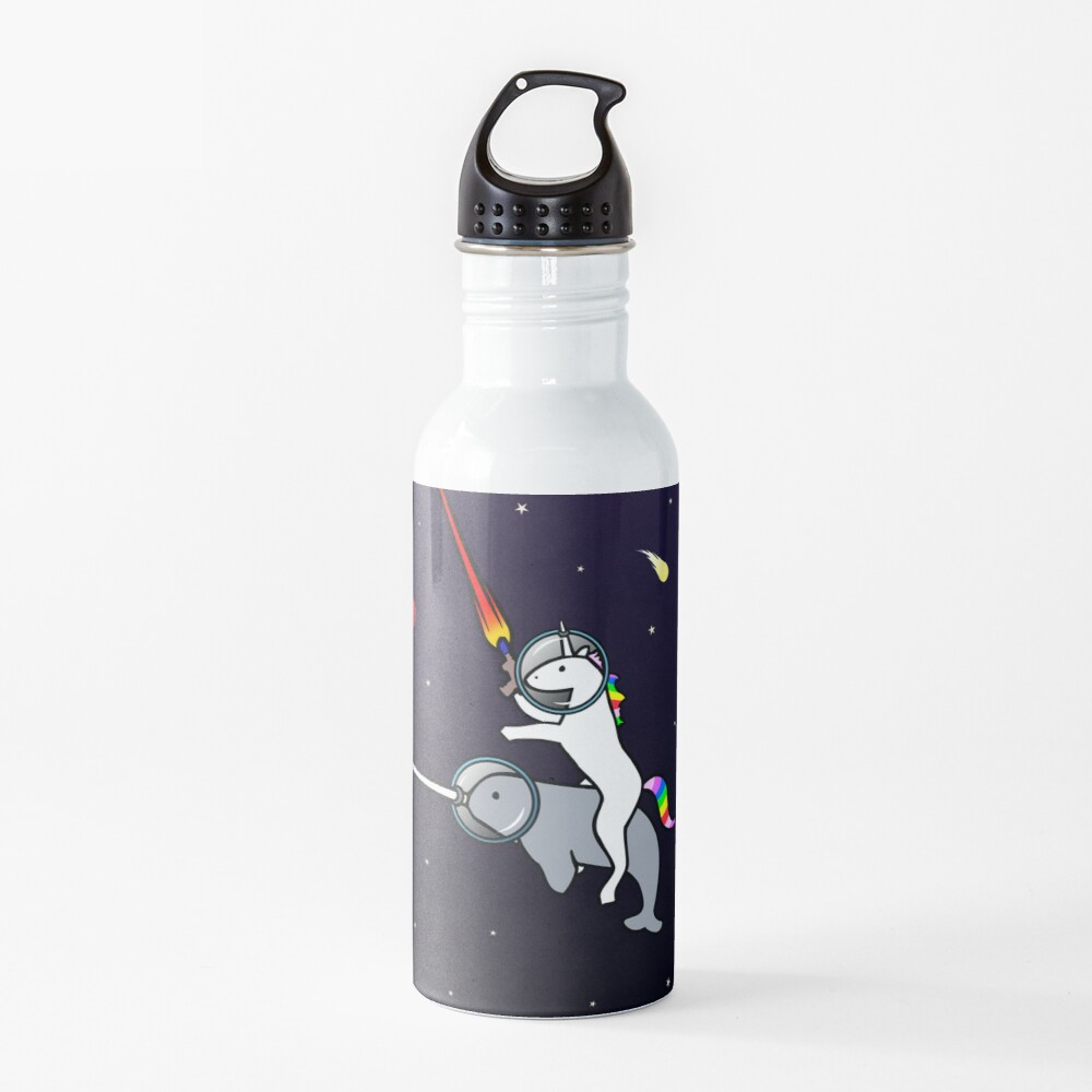 Unicorn Riding Narwhal In Space Water Bottle