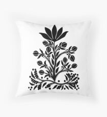 Black Velvet Flower on White Throw Pillow