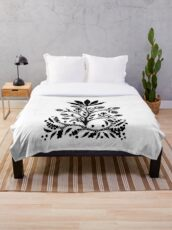 Black Velvet Flower on White Throw Blanket