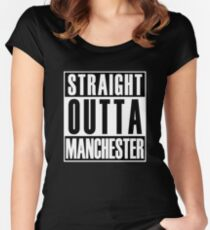 Straight Outta Manchester Women's Fitted Scoop T-Shirt