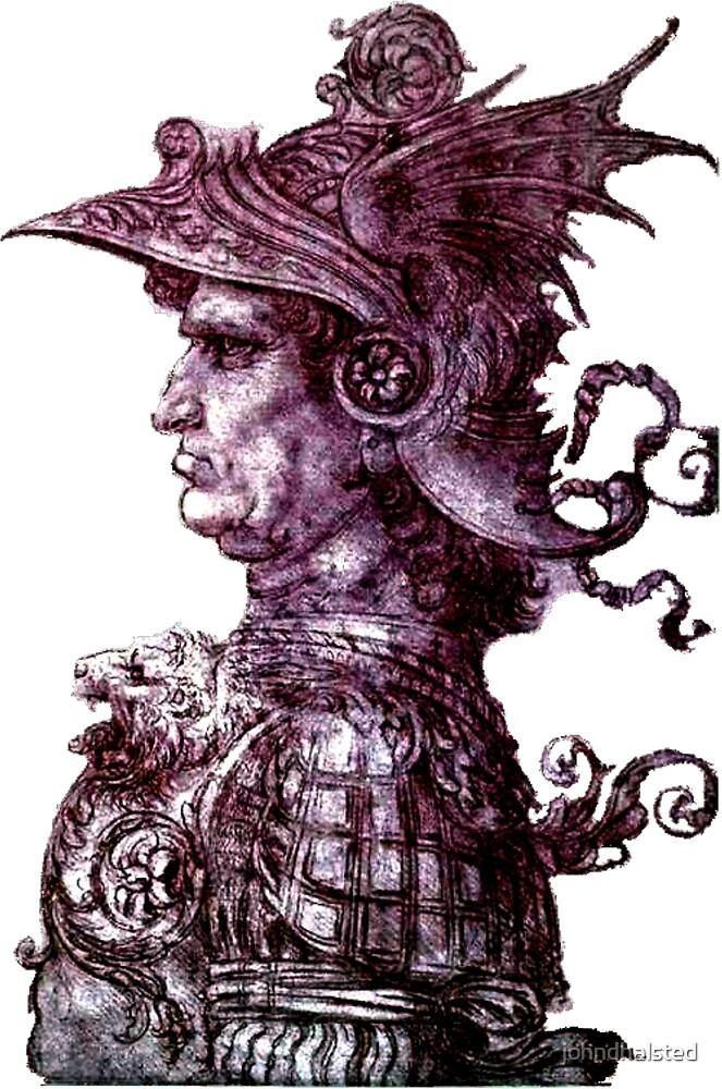 PROFILE OF A WARRIOR - original in the British Museum. From the ebook THE DRAWINGS OF LEONARDO DA VINCI - 49 pen and ink sketches and studies by the Master by johndhalsted