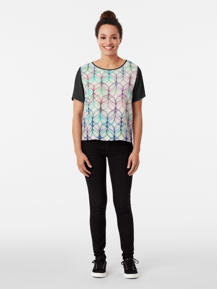 Alternate view of Mermaid's Braids - a colored pencil pattern Chiffon Top