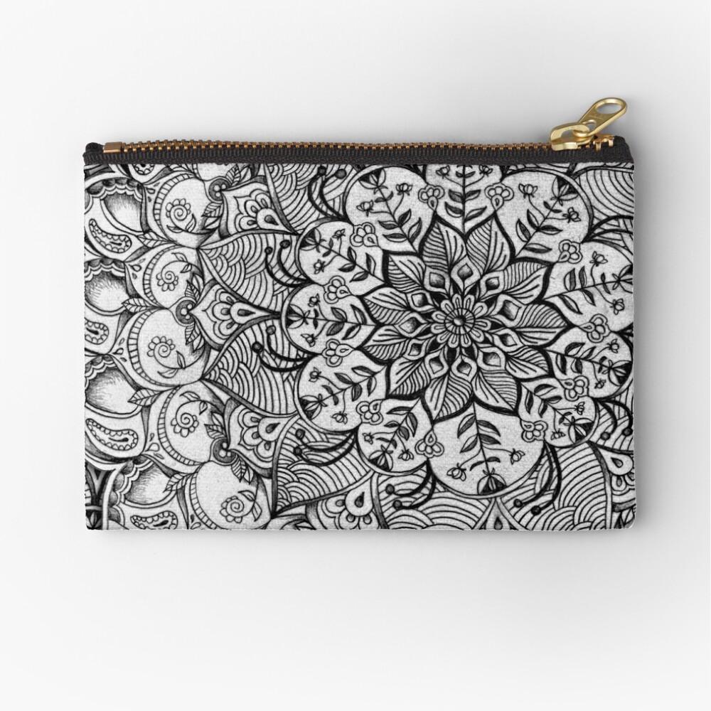 Grautöne - mono floral Doodle Täschchen