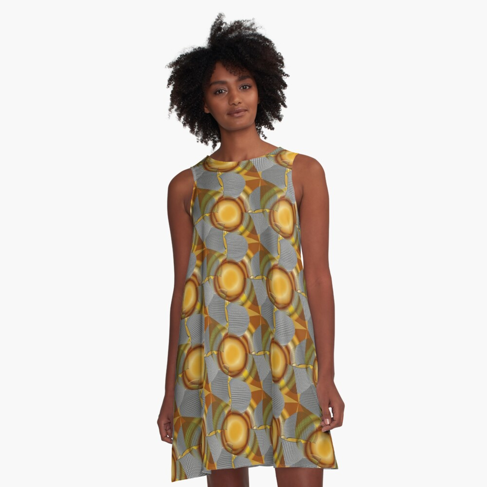 Metalight - Abstract chrome shapes with golden radial gradient A-Line Dress