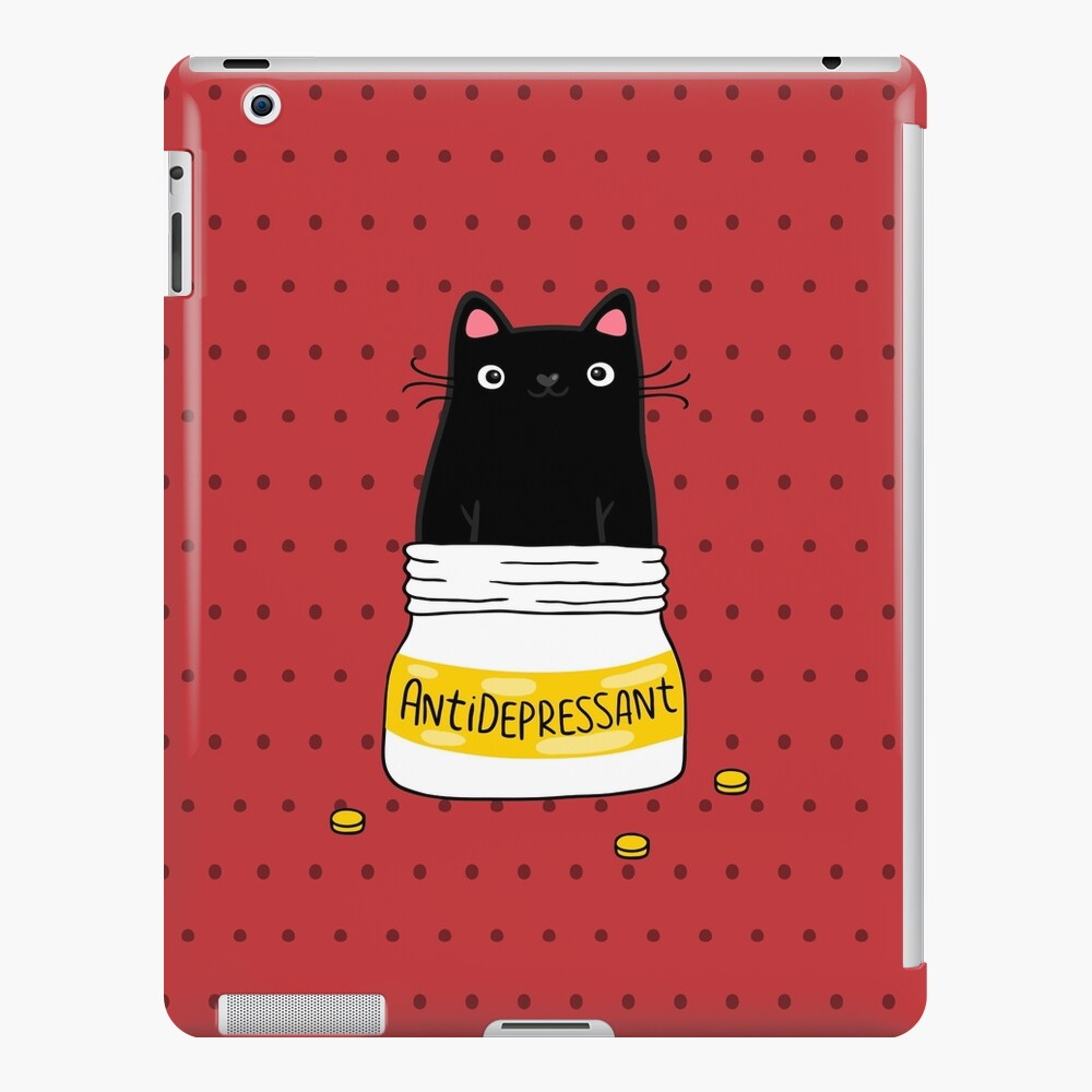 FUR ANTIDEPRESSANT . Cute black cat illustration. A gift for a pet lover. iPad Case & Skin