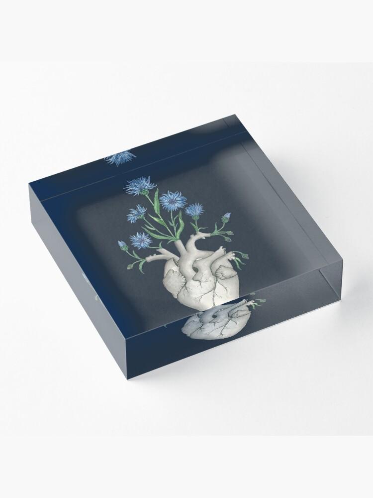 Alternate view of Floral Heart: Human Anatomy Cornflower Flower Halloween Gift Acrylic Block