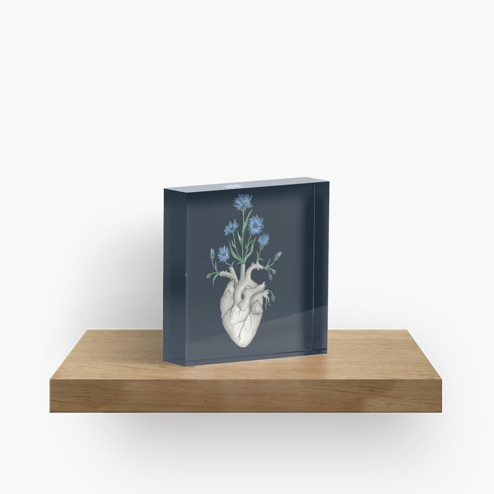 Floral Heart: Human Anatomy Cornflower Flower Halloween Gift Acrylic Block