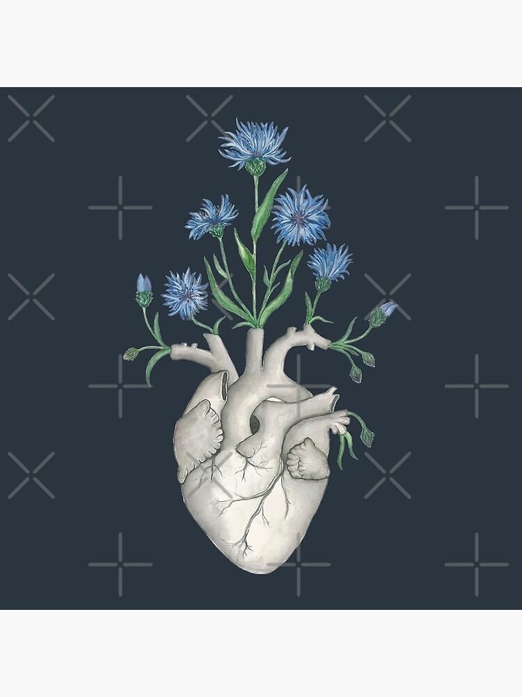 Floral Heart: Human Anatomy Cornflower Flower Christmas Gift by osuariumfloreus