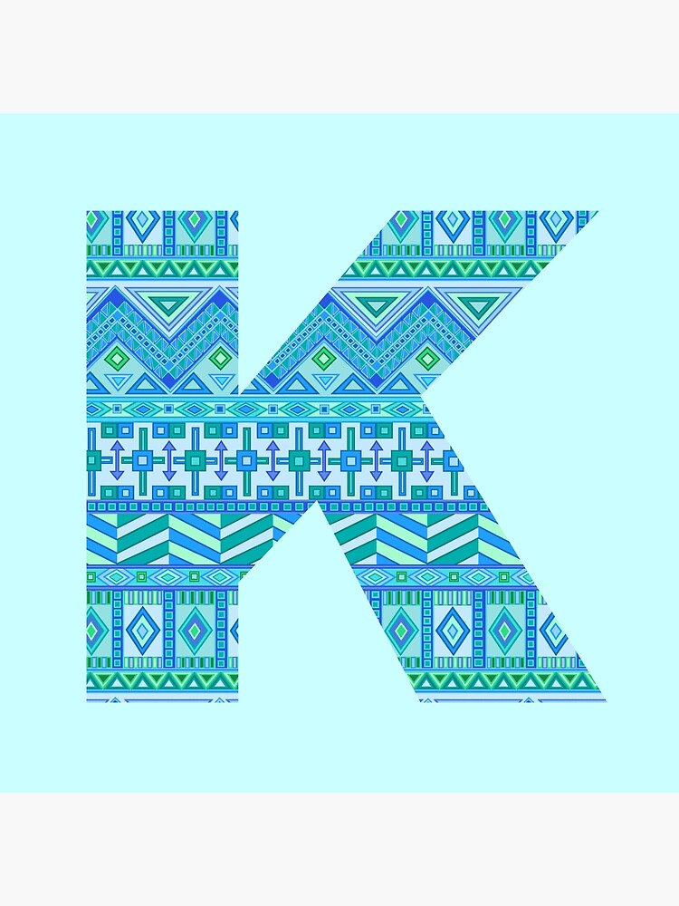 Letter K Blue Aztec Stripes Pattern Boho Monogram Initial by theartofvikki