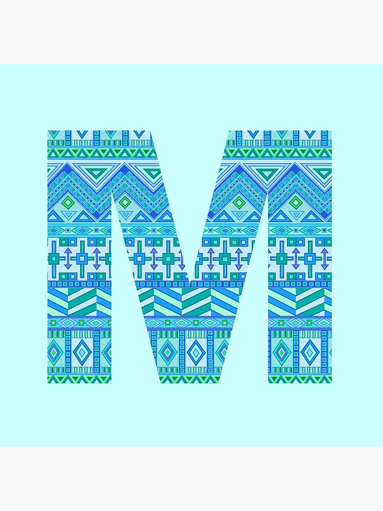 Letter M Blue Aztec Stripes Pattern Boho Monogram Initial by theartofvikki