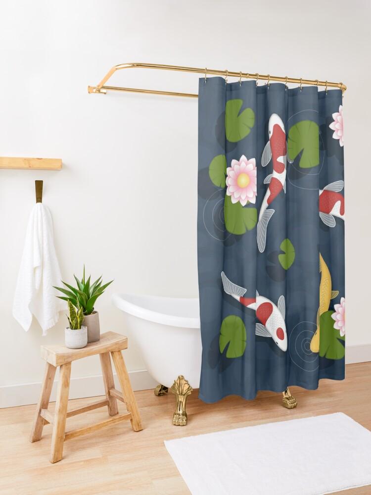 Alternate view of Japanese Koi Fish Pond Shower Curtain