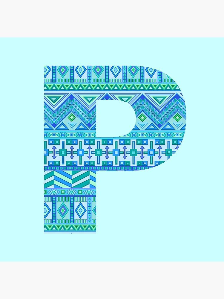 Letter P Blue Aztec Stripes Pattern Boho Monogram Initial by theartofvikki