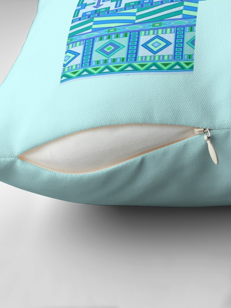 Alternate view of Letter P Blue Aztec Stripes Pattern Boho Monogram Initial Throw Pillow