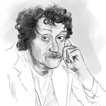 Kurt Vonnegut portrait grayscale by Anaelisch