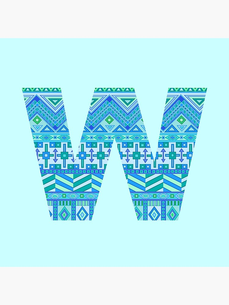 Letter W Blue Aztec Stripes Pattern Boho Monogram Initial by theartofvikki