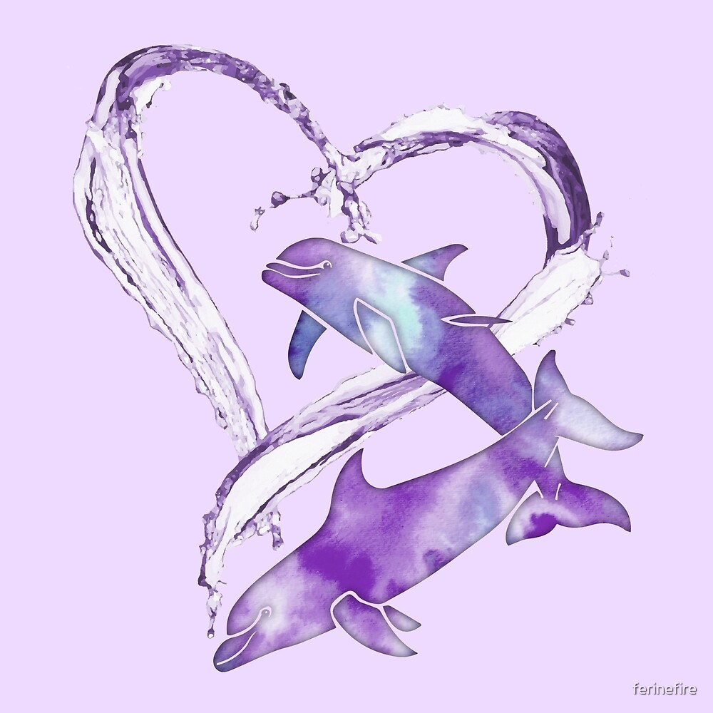 I Love Dolphins - Purple Passion by ferinefire