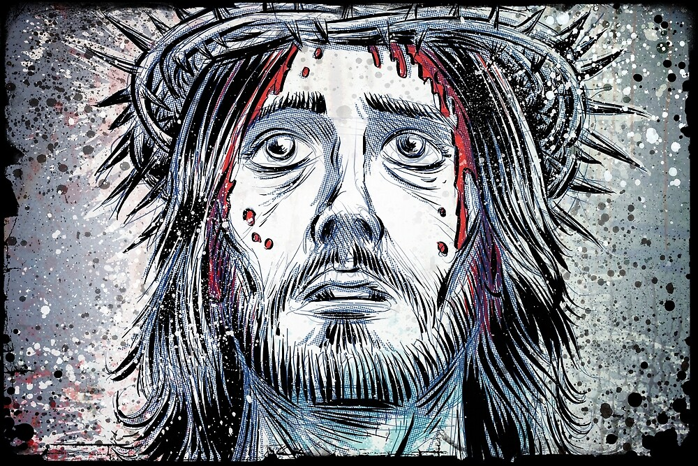 Jesus of nazareth art jesus christ christian god holy spirit crucifixion cross crown of thorns drawing illustration joe badon blood stations by Joe Badon