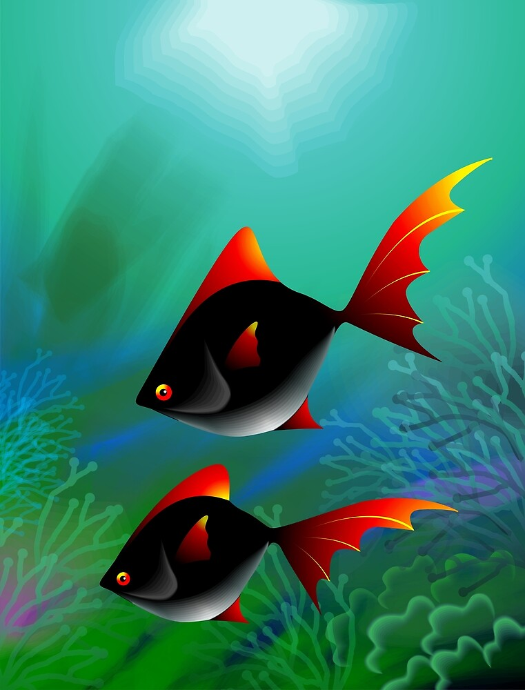 Fantasy of the fishes swimming in the sea by tillydesign