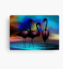 Appealing beauty of the cranes in the lake Canvas Print